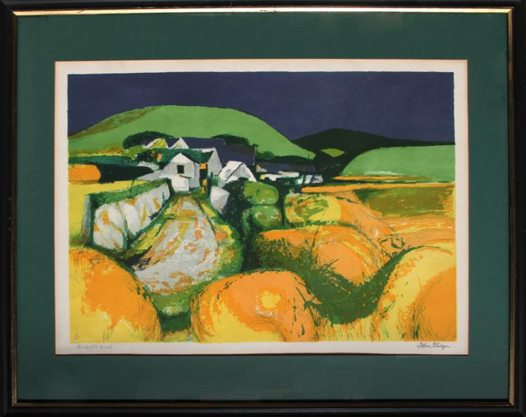 John Elwyn, Orange Landscape, Lithograph