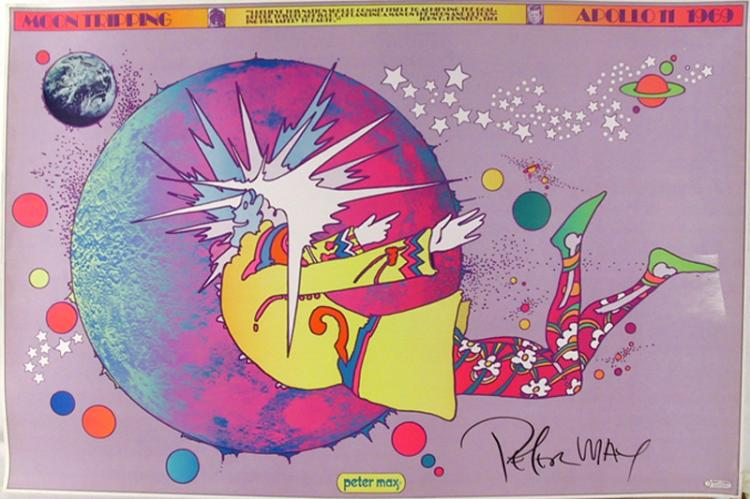 Peter Max, Moon Tripping - Apollo Moon Landing, 1969, Poster