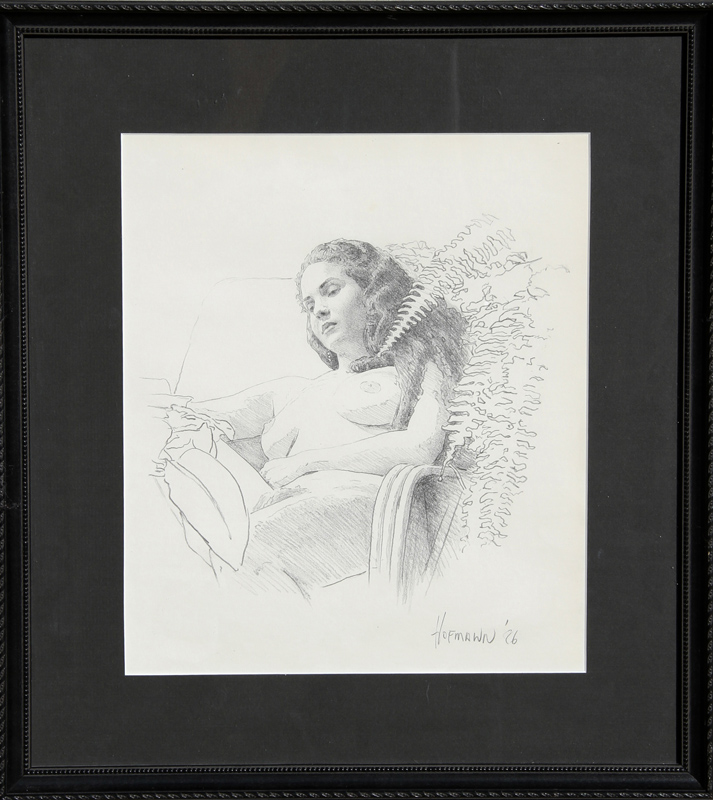 Douglas Hofmann, Beverly with Ferns, Pencil Drawing