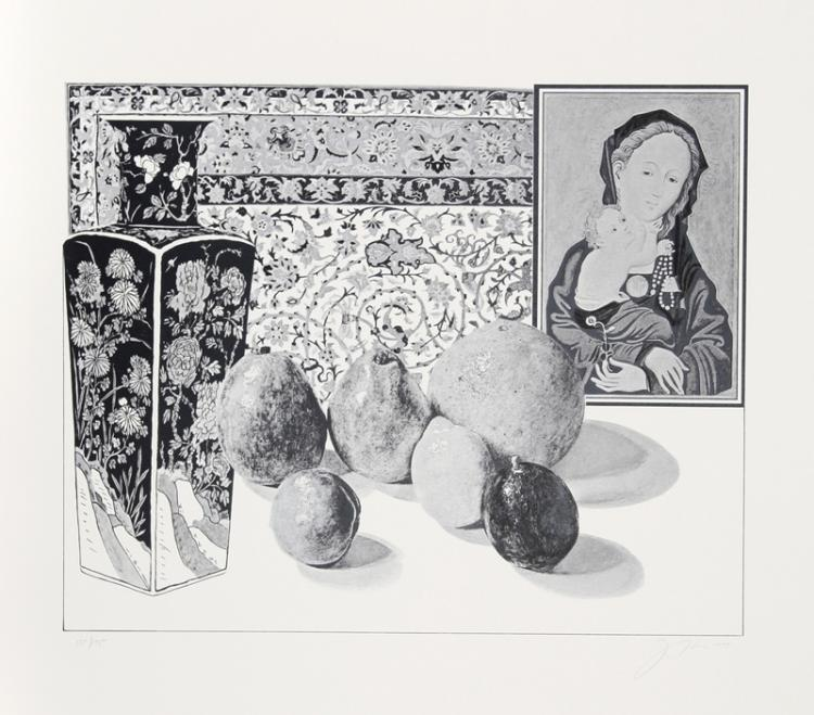 Josef Levi, Still Life with German Master 2, Lithograph