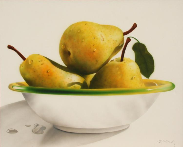 Charles Wildbank, Bowl of Pears, Acrylic Painting