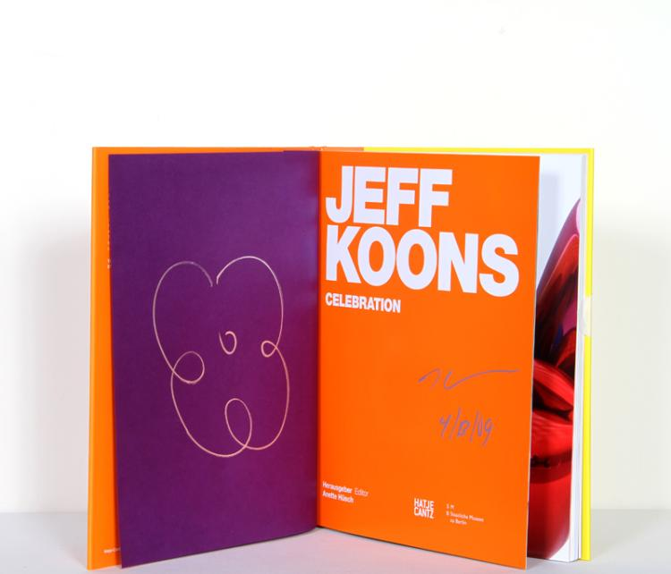 Jeff Koons, Celebration, Small Flower, Silver Marker Drawing in Book