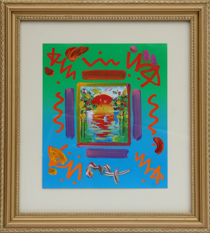 Peter Max, Better World, Acrylic and Collage Painting