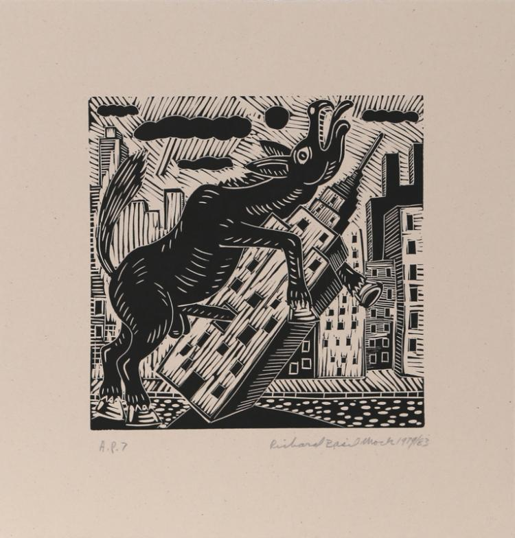 Richard Mock, Donkey on Empire State Building, Linocut