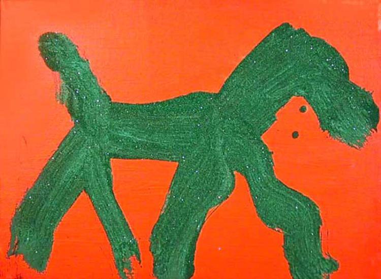 Peter Mayer, Dog (Green on Orange) (17), Acrylic Painting