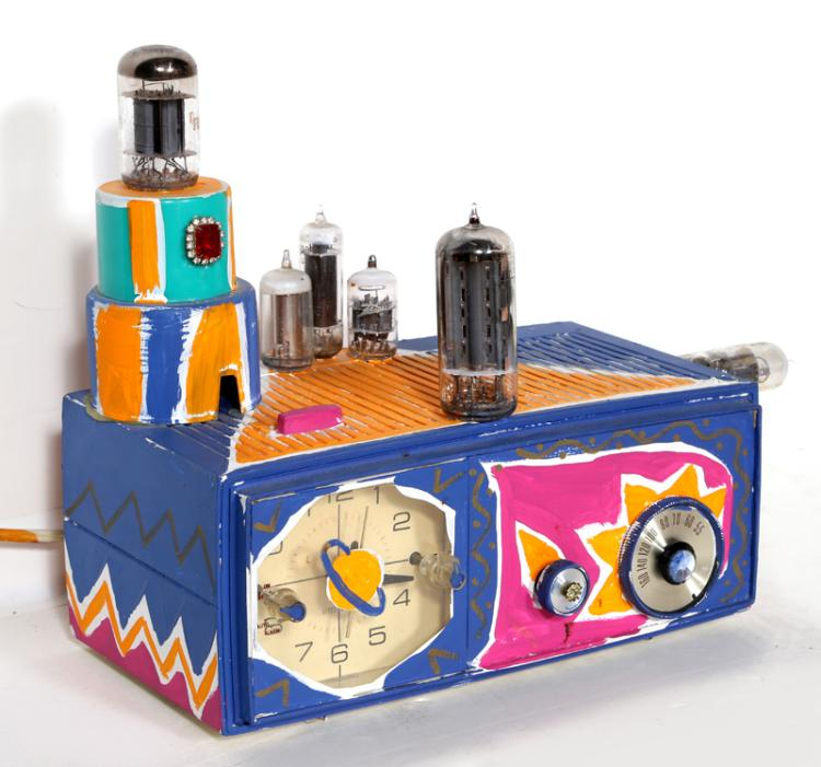 Kenny Scharf, Painted Electric Clock Radio with Collaged Costume Jewelry