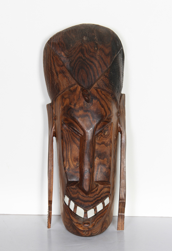 African Mask with Teeth (11), Carved Wood Mask