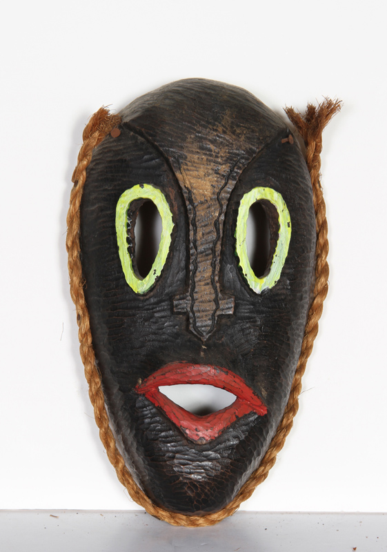 African Mask with Green Eyes and Red Lips 25, Carved Wood Mask