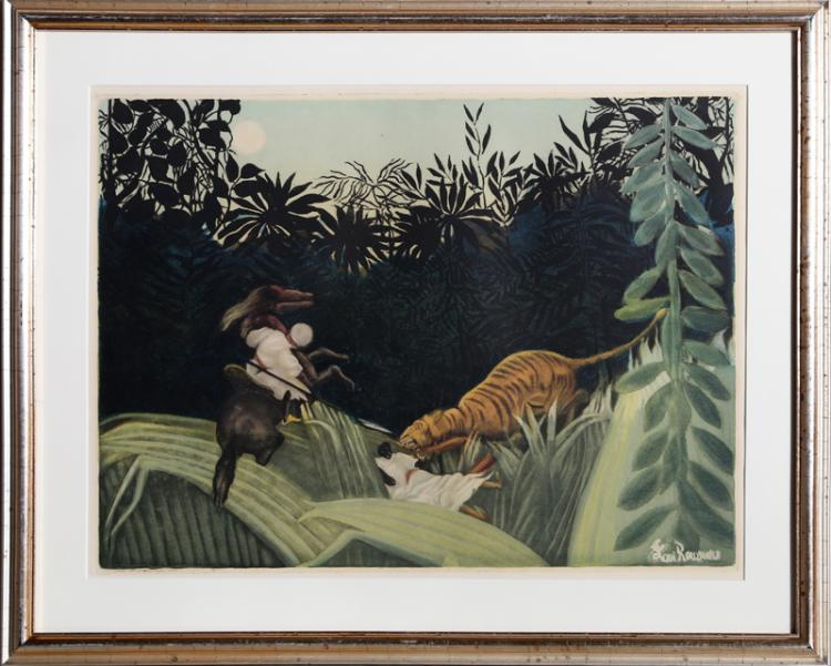 Jacques Villon, La Chasse au Tigre (Ginestet-Pouillon 641), Aquatint Etching