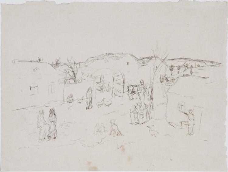 Eugen von Kahler, Bohemian Village, Pen Drawing