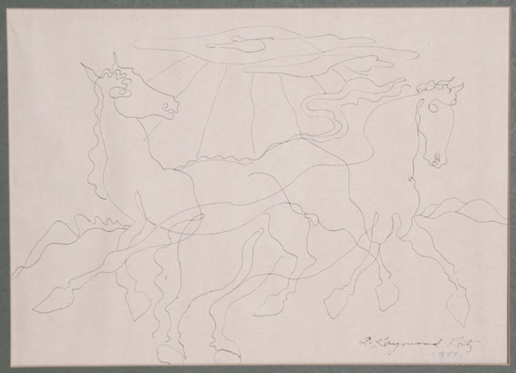 Alexander Raymond Katz, Romping Horses, Ink Drawing Drawing