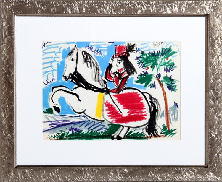 Pablo Picasso, Woman on Horse 3, Lithograph