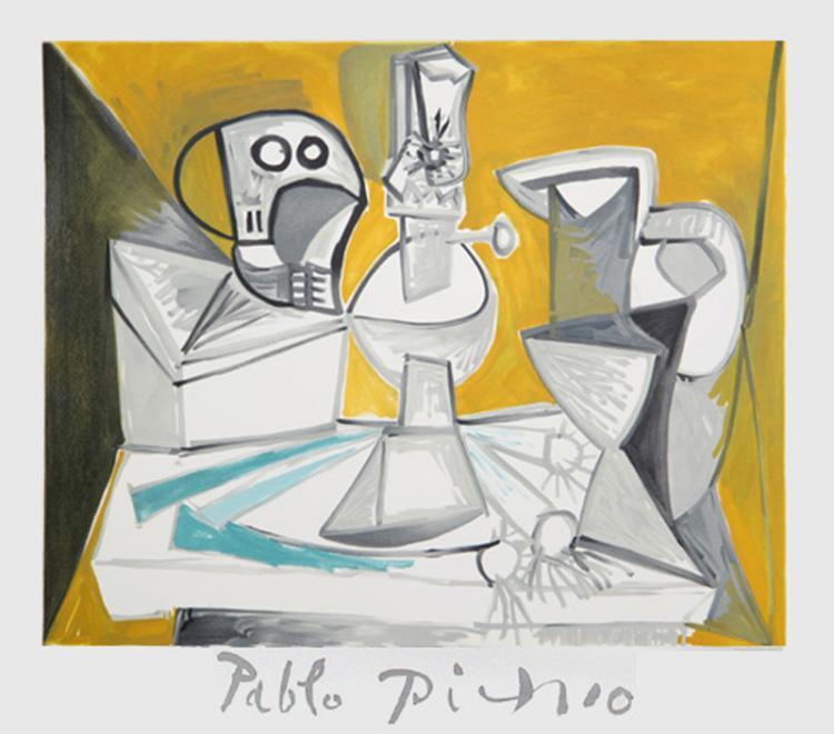 Pablo Picasso, Tete de Morte, Lampe Cruches et Poireaux, Lithograph