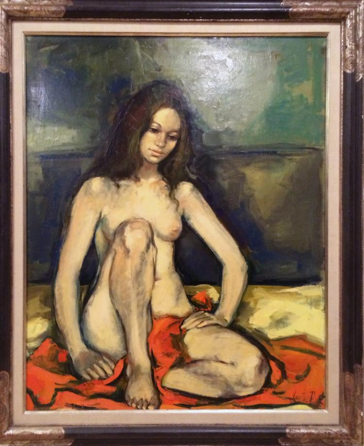 Jan De Ruth, Seated Nude with Orange Blanket, Oil Painting