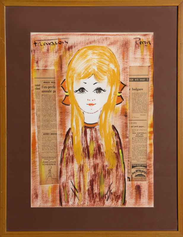 Francois, Blonde Girl with Orange Bows, Acrylic and Collage Painting