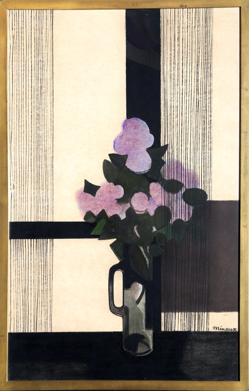 Andre Minaux, Fleurs Mauve, Pastel and Charcoal Drawing