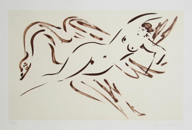 Reuben Nakian, Leda and the Swan - 2, Etching and Chine Colle