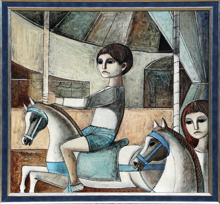 Lucio Ranucci, Les Chevause de bois, Oil Painting