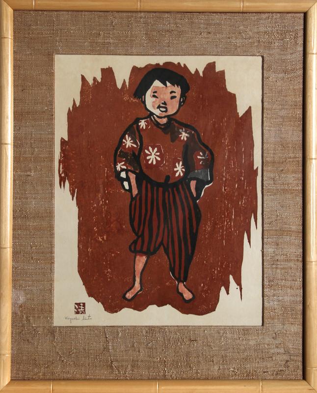 Kiyoshi Saito, Boy, Woodcut and stamped