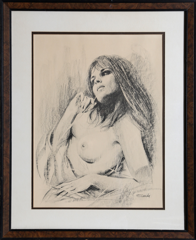 Sandu Liberman, Nude Woman, Charcoal Drawing