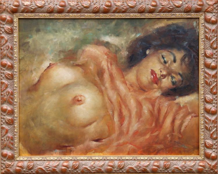Julian Ritter, Reclining Nude, Oil Painting