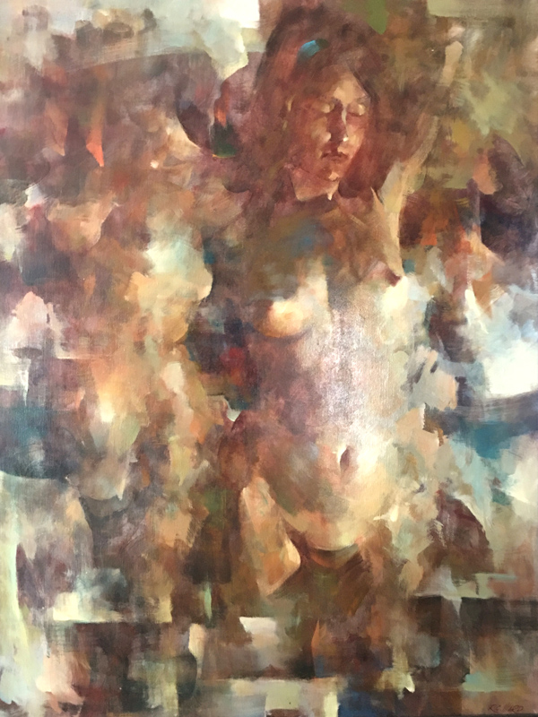 R.C. Ward, Abstracted Standing Nude, Oil Painting