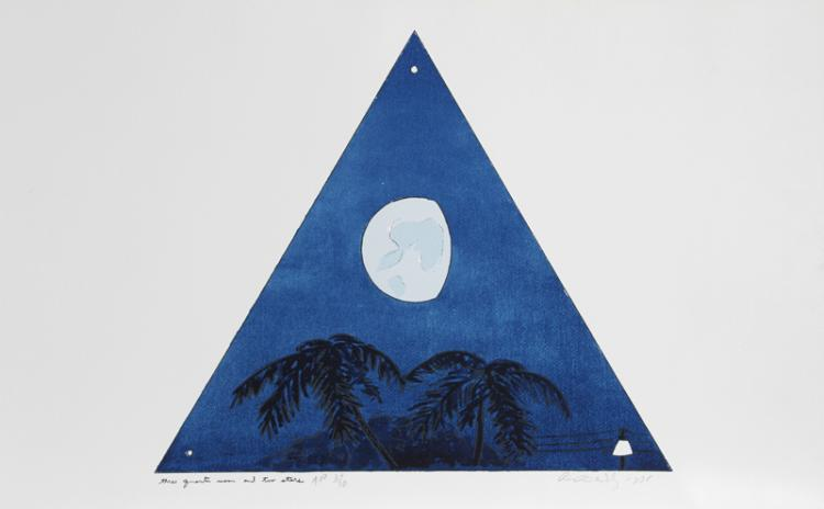 Bill Beckley, Three Quarter Moon - Two Evening Stars, Lithograph