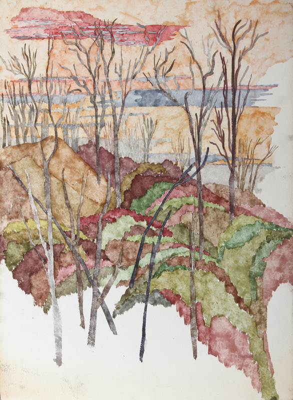 Carl Bergman, Trees in Landscape, Watercolor