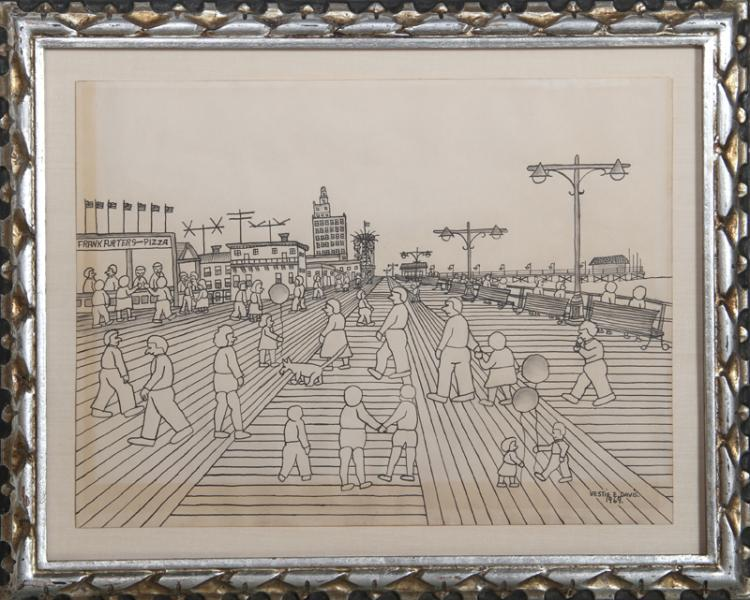 Vestie Davis, Coney Island, Pencil and Ink Drawing