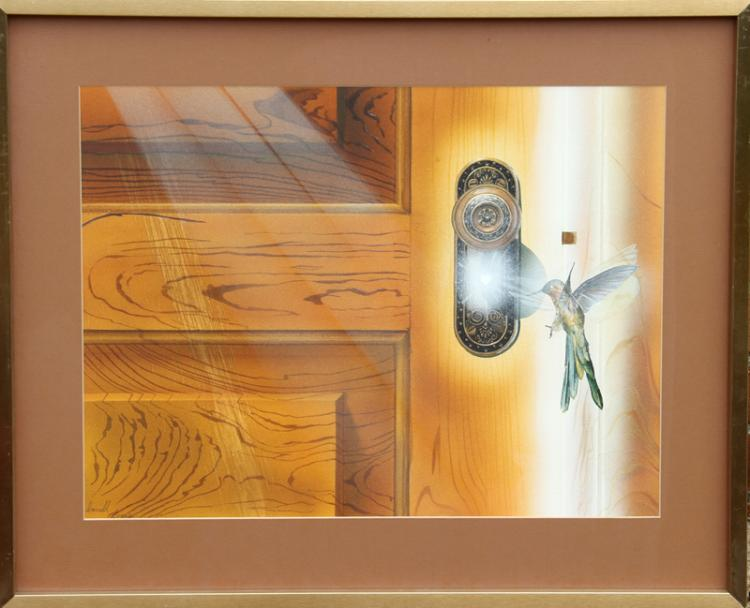 Darrell Evers, Untitled - Hummingbird at Door, Pencil and Watercolor Painting