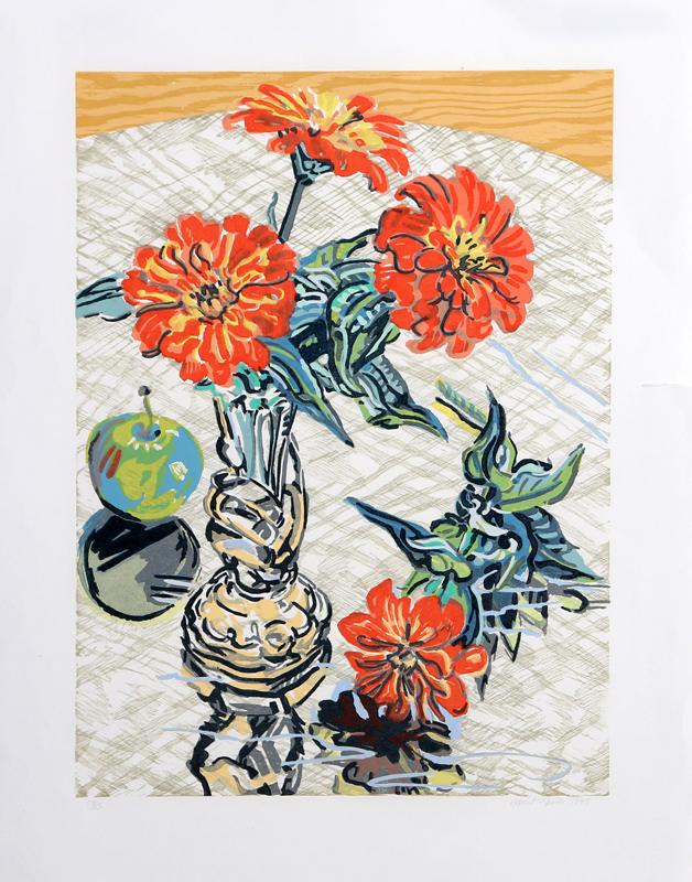 Janet Fish, Apples and Zinnias, Woodcut