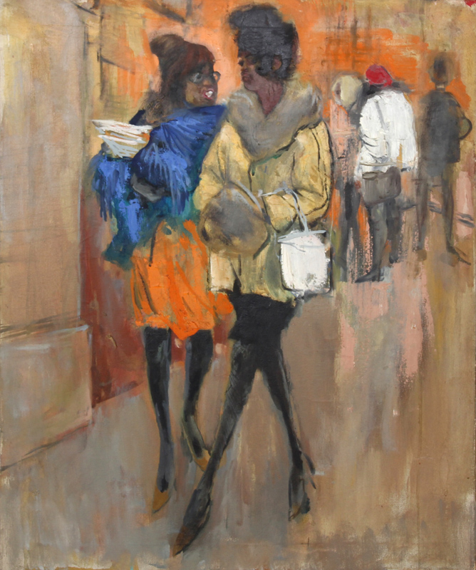 Marshall Goodman, Two Women Walking, Oil Painting