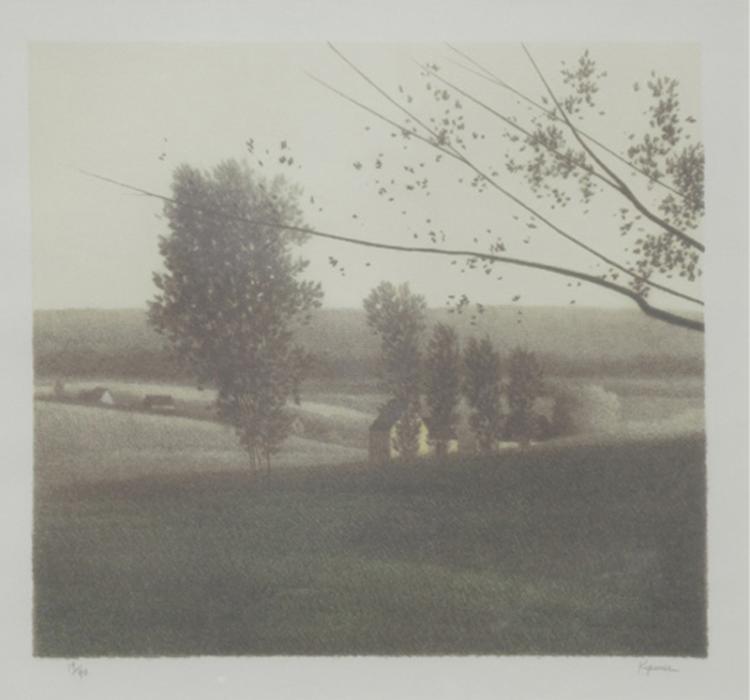 Robert Kipniss, Descending Trees, Lithograph