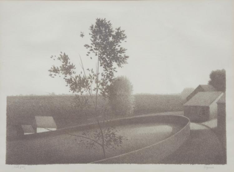 Robert Kipniss, Circular Fence, Lithograph