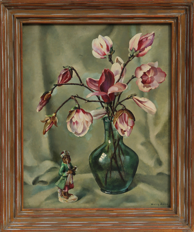 Harry Lane, Vase and Monkey, Oil Painting