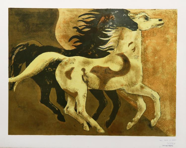 Millard Owen Sheets, Two Horses, Lithograph