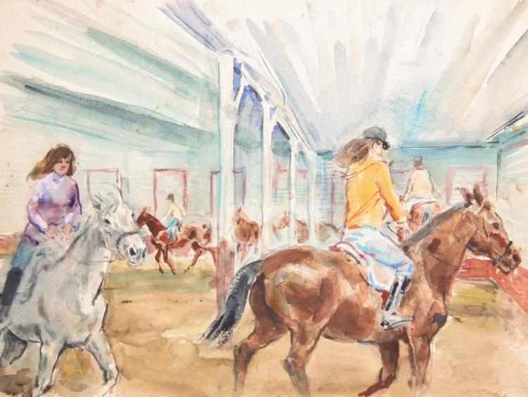 Marshall Goodman, Indoor Riding Class, Watercolor Painting