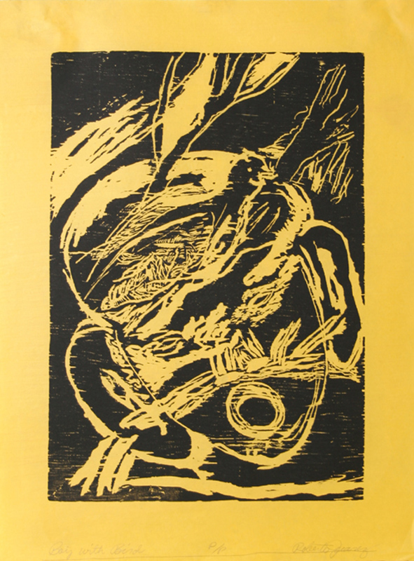 Roberto Juarez, Boy with Bird (Black), Woodcut
