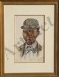 Bessie Pease Gutmann, Portrait of a Young Man, Watercolor, Bessie Pease Gutmann, Click for value