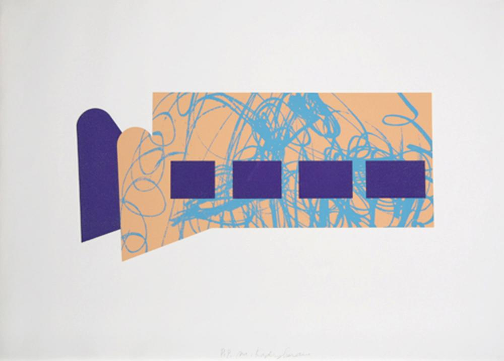 Menashe Kadishman, Four Purple Squares, Screenprint
