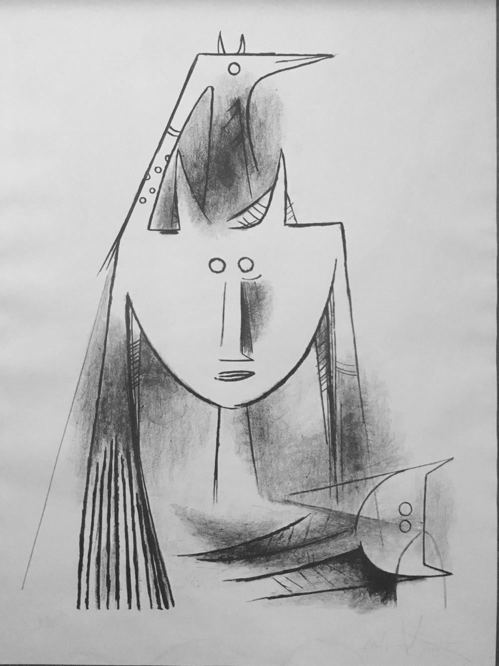 Wifredo Lam, Primitiv Gestalt (5501), Lithograph