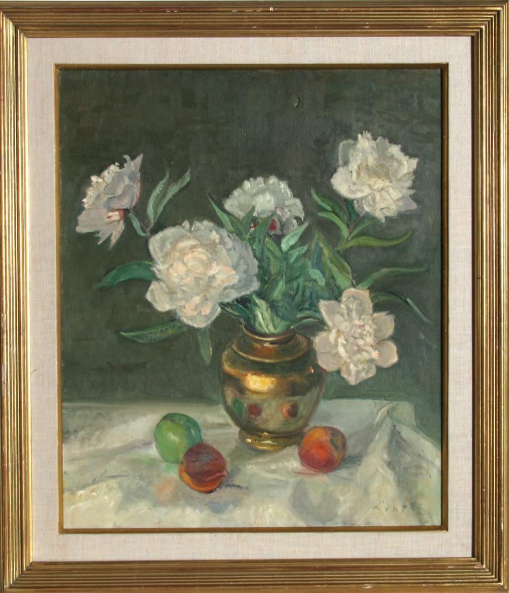 Adela Smith Lintelmann, White Flowers Still Life, Oil Painting
