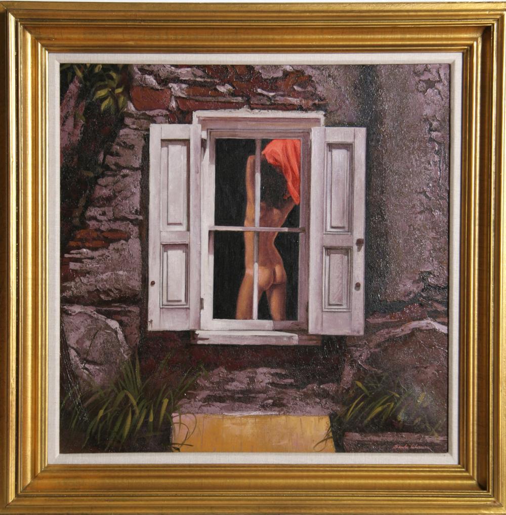 Sandu Liberman, Nude in the Window, Oil Painting