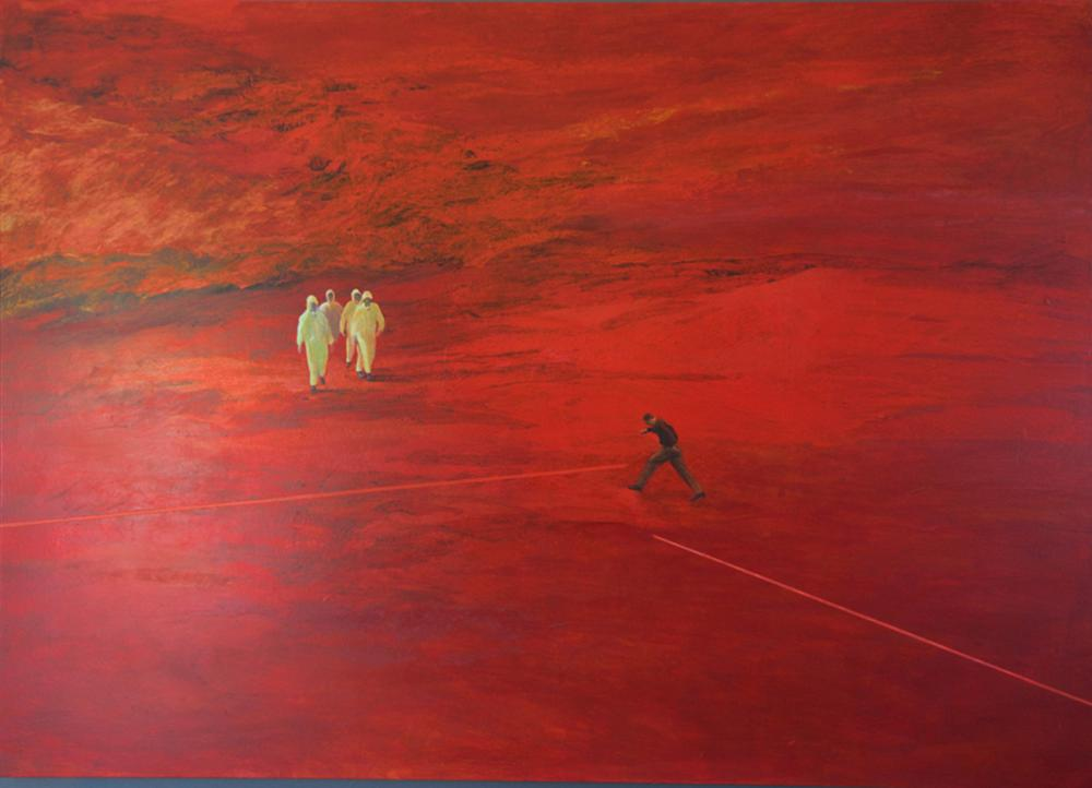 Monica Meira, Red Line, Oil Painting