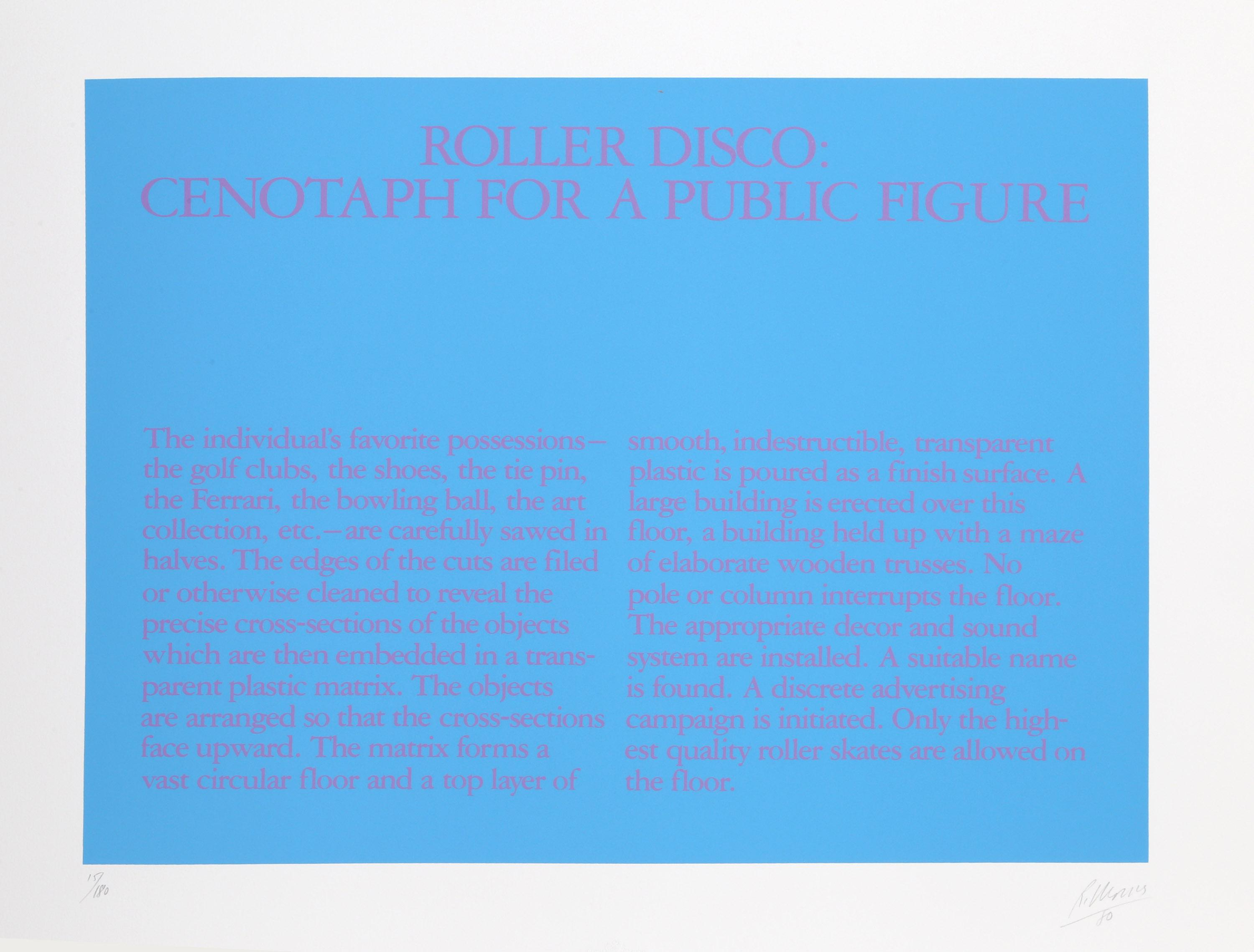 Robert Morris, Roller Disco: Cenotaph for A Public Figure, Silkscreen