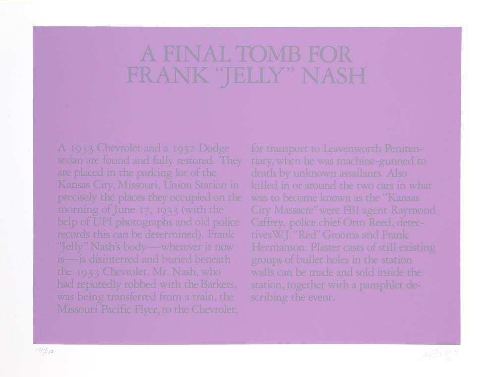 Robert Morris, A Final Tomb For Frank 'Jelly' Nash, Silkscreen