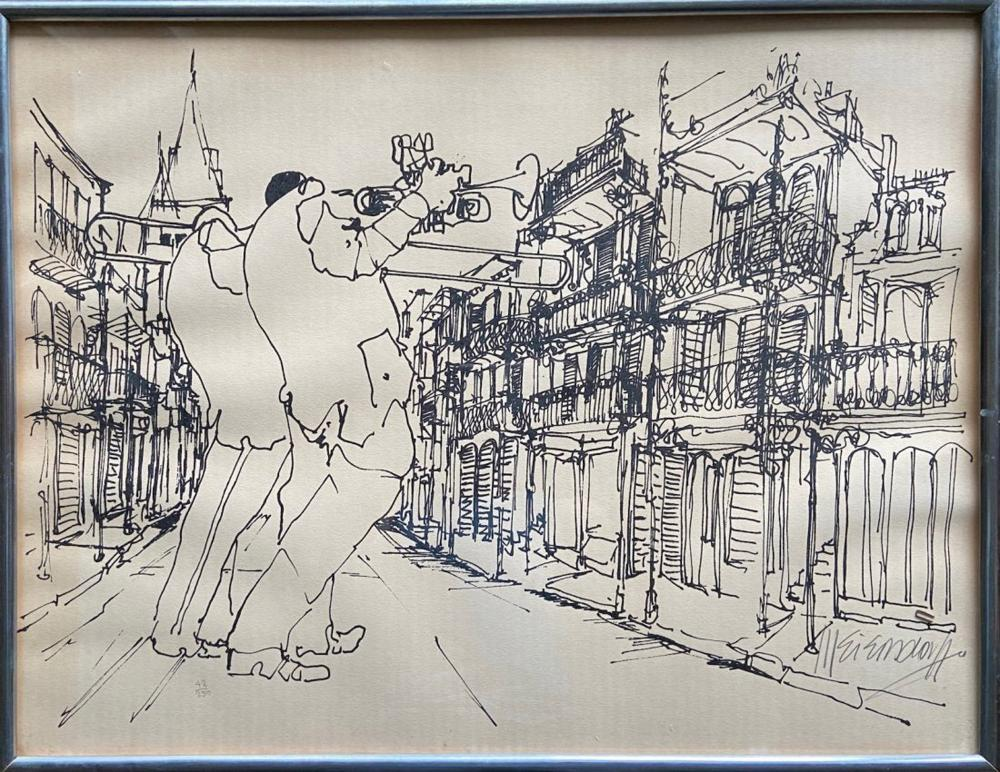 Leo Meiersdorff, New Orleans Jazz in the Streets, Lithograph