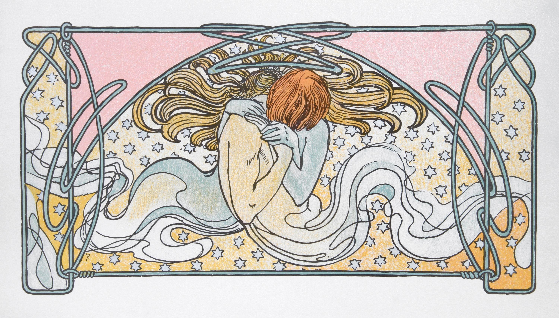 Alphonse Mucha, Kissing Mermaids, 24, Lithographic Poster