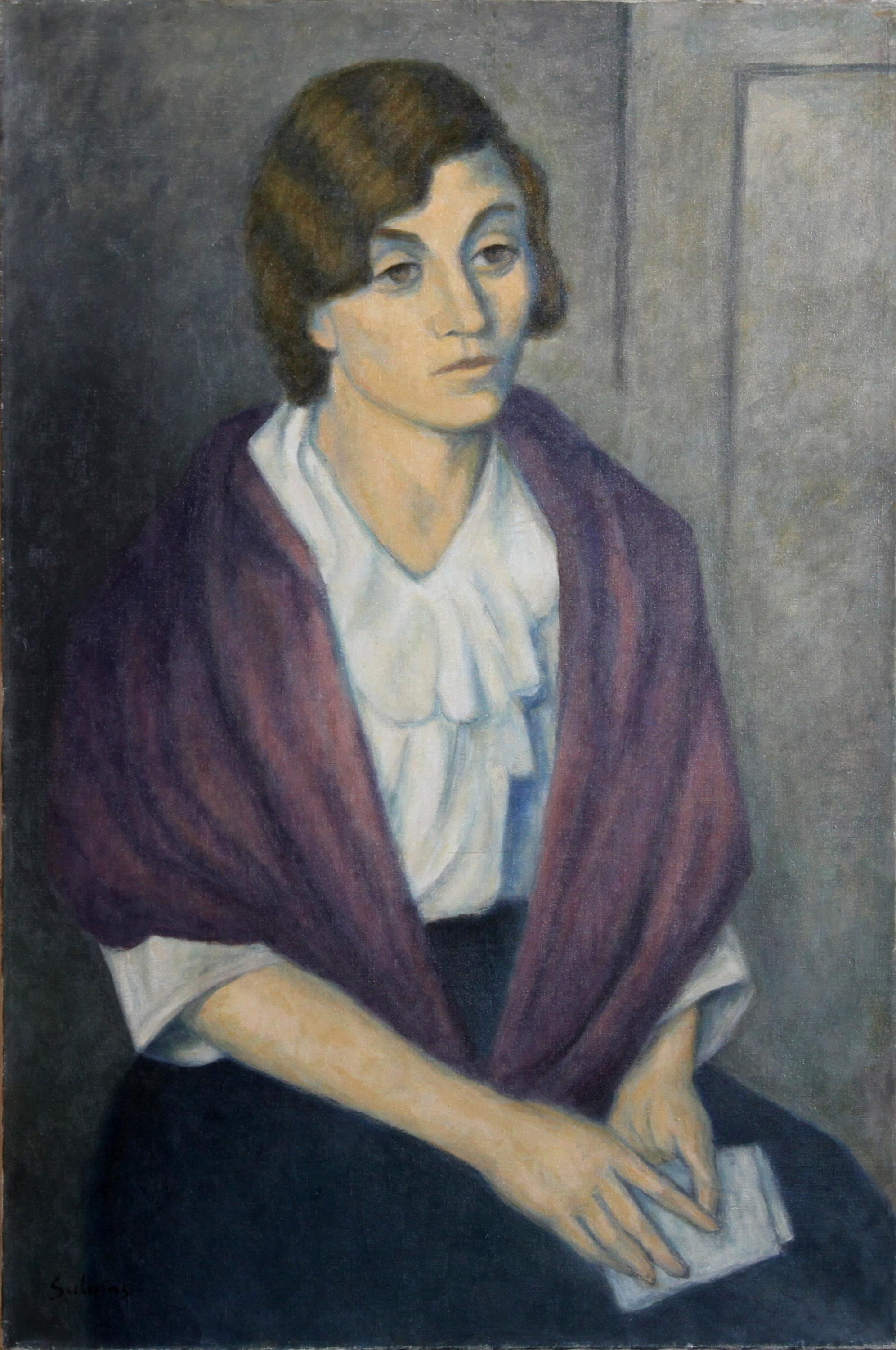 Laurent Marcel Salinas, Young Woman with Purple Shawl, Oil Painting