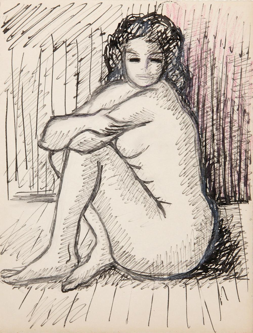 Laurent Marcel Salinas, Seated Nude 165, Watercolor Painting